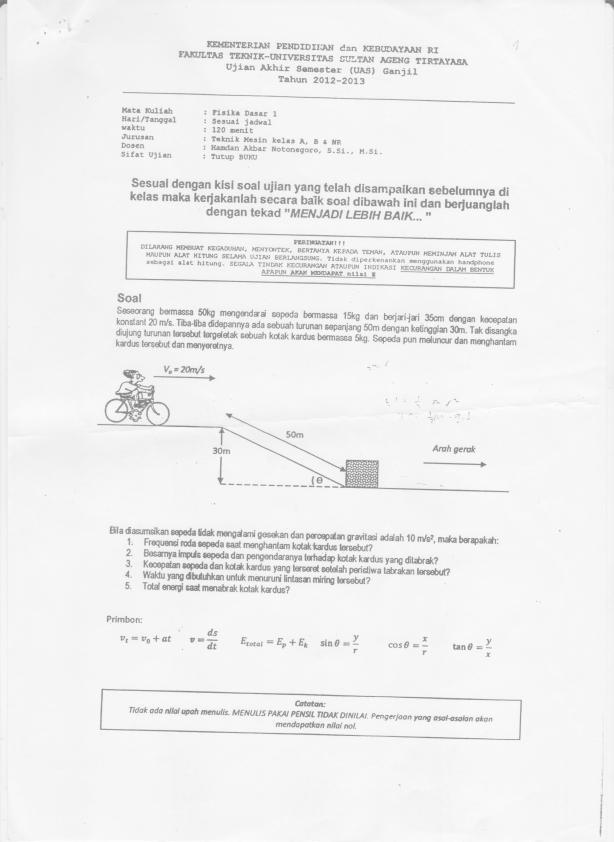 UAS Fisika Dasar I 2012-2013